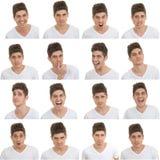 Satz männliche Gesichtsausdrücke Stockbilder