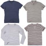 Satz männliche Hemden Getrennt auf weißem Hintergrund Lizenzfreies Stockbild