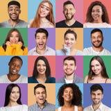 Satz Mann und weibliche emotionale Porträts stockfotografie