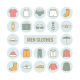 Satz Mannkleidungsvektor-Entwurfsikonen Lizenzfreie Stockbilder