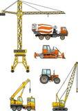 Satz Maschinen des schweren Baus Auch im corel abgehobenen Betrag Stockfotos