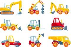 Satz Maschinen des schweren Baus der Spielwaren in einer Ebene Stockbilder