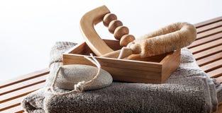 Satz Massage, Abblätterung und Schale, die Zubehör verwöhnen Lizenzfreie Stockfotografie
