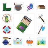 Satz Match, Zelt, Grill, Ausrüstung der ersten Hilfe, Topf, Axt, Floss, lizenzfreie abbildung
