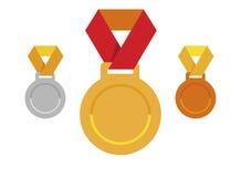 Satz Medaillenikonen; Goldmedaillenikone; Silbermedailleikone; Bronzemedaillenikone; Stockfoto