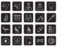 Satz medizinische Ausrüstung und Versorgungen auf schwarzem Hintergrund Lizenzfreie Stockfotos
