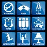 Satz medizinische Ikonen im blauen quadratischen Hintergrund lizenzfreie abbildung