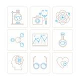 Satz medizinische Ikonen und Konzepte des Vektors in der dünnen monolinie Art stock abbildung