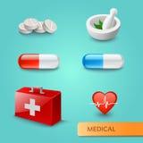 Satz medizinische Ikonen und Symbole Stock Abbildung