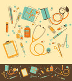 Satz medizinische Instrumente stock abbildung