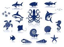Satz Meeresflora und -fauna-Tiere Lizenzfreie Stockbilder