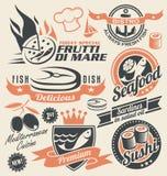 Satz Meeresfrüchteikonen, -symbole, -logos und -zeichen stock abbildung