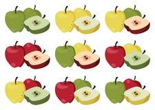 Satz mehrfarbige Äpfel Lizenzfreie Stockfotos