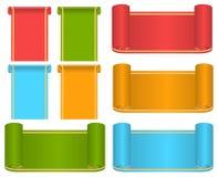 Satz mehrfarbige Bänder und Aufkleber Stockbilder