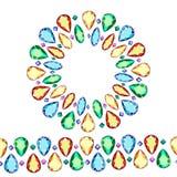Satz mehrfarbige Edelsteine Kranz von mehrfarbigen Diamanten lizenzfreie abbildung