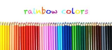 Satz mehrfarbige hölzerne Bleistifte lokalisiert auf Weiß Lizenzfreie Stockbilder
