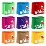 Satz mehrfarbige Pakete Stockfotos