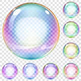 Satz mehrfarbige Seifenblasen Stockfotos