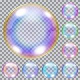Satz mehrfarbige Seifenblasen Stockfoto