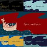 Satz mehrfarbige Vektorfahnen mit einem Kopienraum auf den Themapaaren in der Liebe in der Gondel reiten in Venedig Lizenzfreies Stockbild