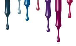 Satz mehrfarbiger Nagellack, der von der Bürste fließt Bürste für Nagellackflasche Getrennt auf weißem Hintergrund Vektor Abbildung
