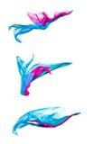 Satz mehrfarbiges Gewebe in der Bewegung Stockbilder