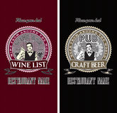 Satz Menüschablonen für Wein und Bier Lizenzfreie Stockfotos