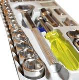 Satz metallische Hilfsmittel als Hintergrund Stockbild