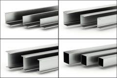 Satz Metallstrahlen und -rohre stock abbildung