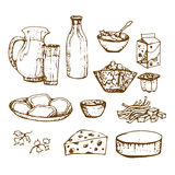 Satz Milchprodukte übergeben gezogenes, Skizzennahrungsmittel Stockfotografie