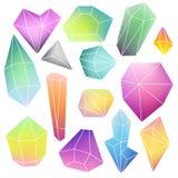 Satz Mineralkristalle Stockbilder