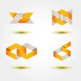 Satz minimale geometrische gestreifte Mehrfarbenformen Modische flache Ikonen und Firmenzeichen Geschäft unterzeichnet Symbole, A Lizenzfreie Stockbilder