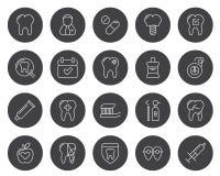 Satz minimaler Zahnarzt-Dental Clinic Vector-Linie Ikonen Perfektes Pixel Haarstrich 48x48 Stockbilder