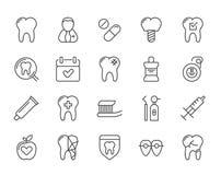 Satz minimaler Zahnarzt-Dental Clinic Vector-Linie Ikonen Perfektes Pixel Haarstrich 48x48 Lizenzfreies Stockfoto