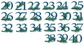 Satz mit 20 bis 40 Zahlen von 0 bis 100 Pfau Zahlen Stockfoto