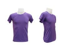 Satz männlicher T-Shirt Schablone auf dem Mannequin auf weißem Hintergrund Stockbilder