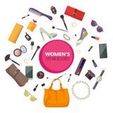 Satz Mode-Accessoires Frauen-Einzelteile und Zubehör Stock Abbildung