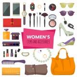 Satz Mode-Accessoires Frauen-Einzelteile und Zubehör Lizenzfreie Abbildung