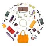 Satz Mode-Accessoires Frauen-Einzelteile und Zubehör Vektor Abbildung