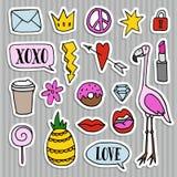Satz Modeflecken, Ausweise, Stifte, Aufkleber Kühle modische Hand gezeichnetes Design Lokalisierte Gegenstände Lizenzfreies Stockbild