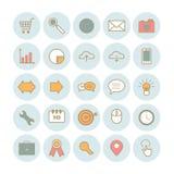Satz moderne Entwurf Suchmaschinen-Optimierungs-Ikonen Stockfotos