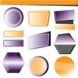 Satz moderne Fahnen Gelbe und purpurrote Farbe in der Steigungsart Stockfoto