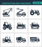 Satz moderne Ikonen Bauschwermaschinentraktor, Aufzug, Kran, Rolle, Planierraupe, Kipplaster, Fass Schwarze Zeichen Lizenzfreie Stockfotografie