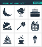 Satz moderne Ikonen Nachtisch und süßes Lebensmittelhörnchen, Nachtisch, Kuchen, Obstsalat, Honig, Apfel, Korb, Kaffee, Eiscreme Lizenzfreies Stockfoto