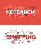 Satz moderne Vektorillustrationskonzepte von Wörtern Forschung und Einkaufen Lizenzfreies Stockbild