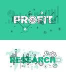 Satz moderne Vektorillustrationskonzepte von Wörtern profitieren und erforschen Lizenzfreie Stockfotografie