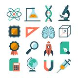 Satz moderne Vektorwissenschaftsikonen Stockbilder