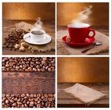 Satz moderner Poster mit Kaffeehintergründen Modische Hippie-Schablonen für Flieger, Fahnen, Einladungen, Restaurant oder Stockfotografie