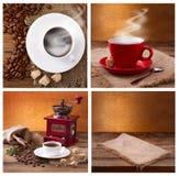 Satz moderner Poster mit Kaffeehintergründen Modische Hippie-Schablonen für Flieger, Fahnen, Einladungen, Restaurant oder Lizenzfreies Stockfoto
