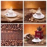 Satz moderner Poster mit Kaffeehintergründen Modische Hippie-Schablonen für Flieger, Fahnen, Einladungen, Restaurant oder Stockbild